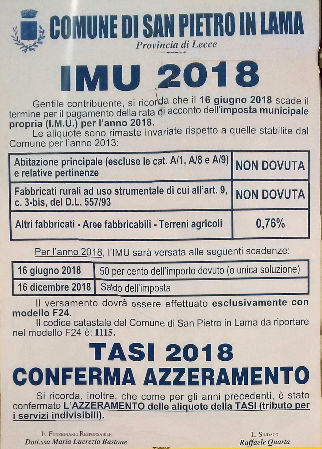 Fonte Avviso Pubbico: IMU 2018